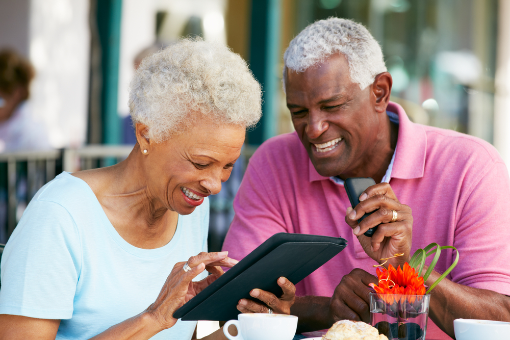 older couple using tablet